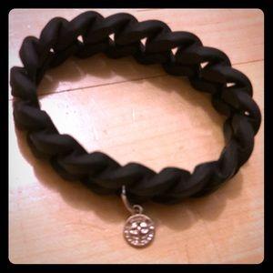 Marc by Marc Jacobs black braided rubber bracelet